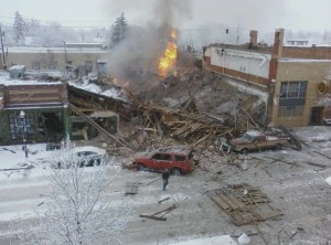 An image of the destruction in Bozeman from someone with a camera phone not long after it happened.